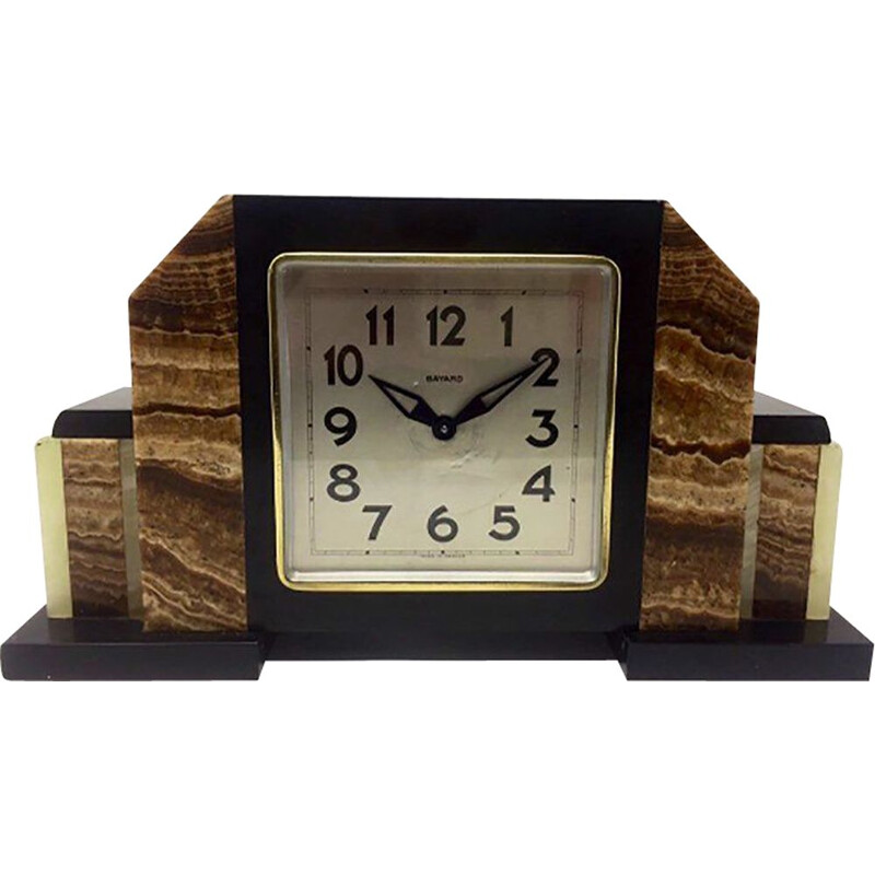 Vintage Art Deco Marble Clock from Bayard, French 1930s