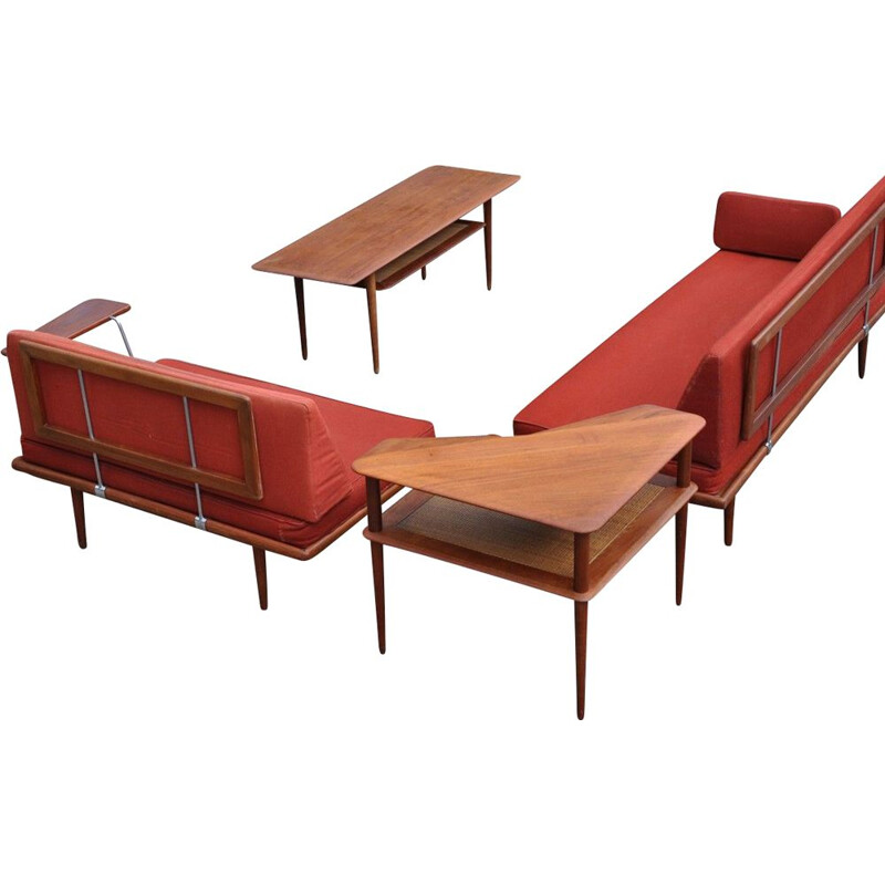 3-seater sofa or daybed Minerva teak by Peter Hvidt and Orla Molgaard Nielsen for France and Daverkosen, Denmark