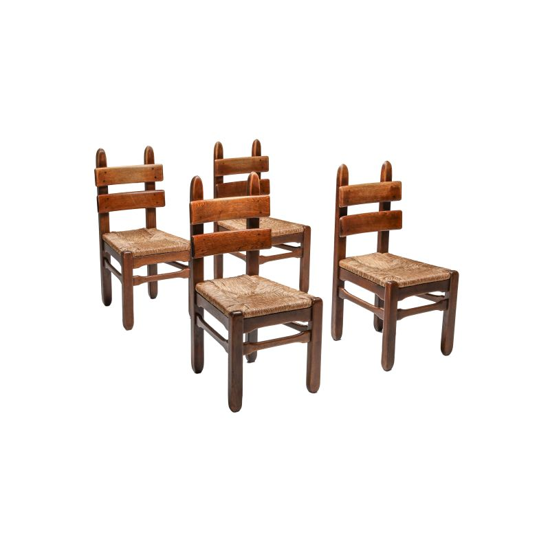 Set of 4 Rustic Modern Oak and Cord Chairs 1930s