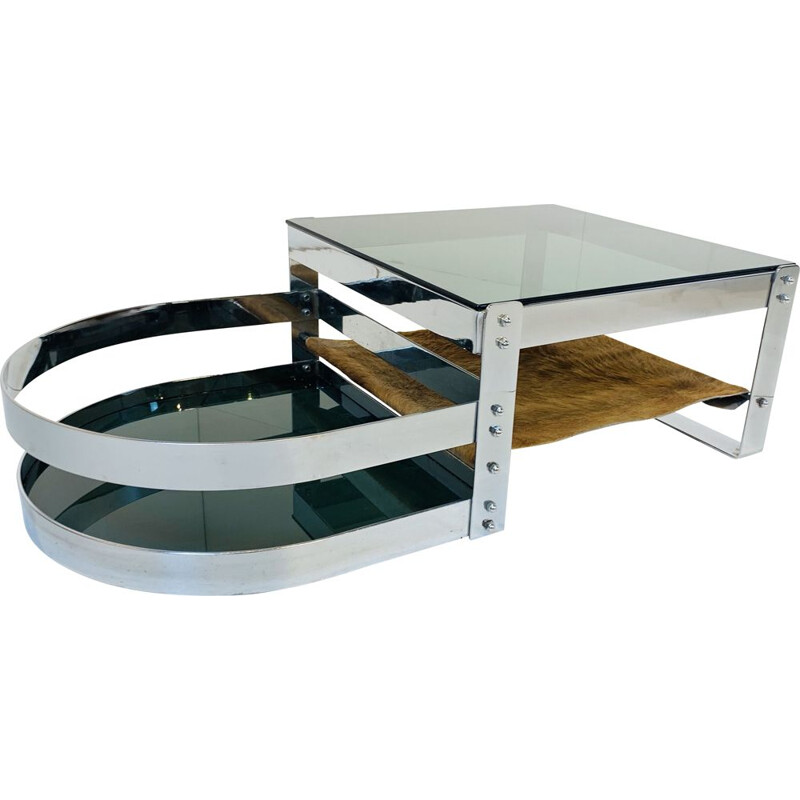 Vintage Steel and Cow coffee Table 1970