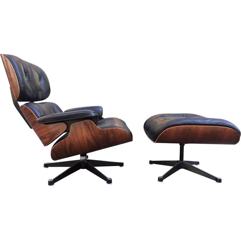 Vintage Eames Lounge Chair et Ottoman Palissandre Charles & Ray 1975