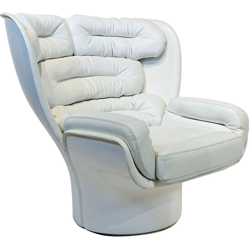 "Vintage White Leather ""ELDA"" Armchair by Joe Colombo for Comfort"
