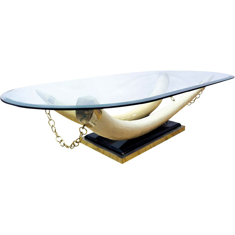 Mid-Century Faux Ivory Tusk Coffee Table, French 1970s