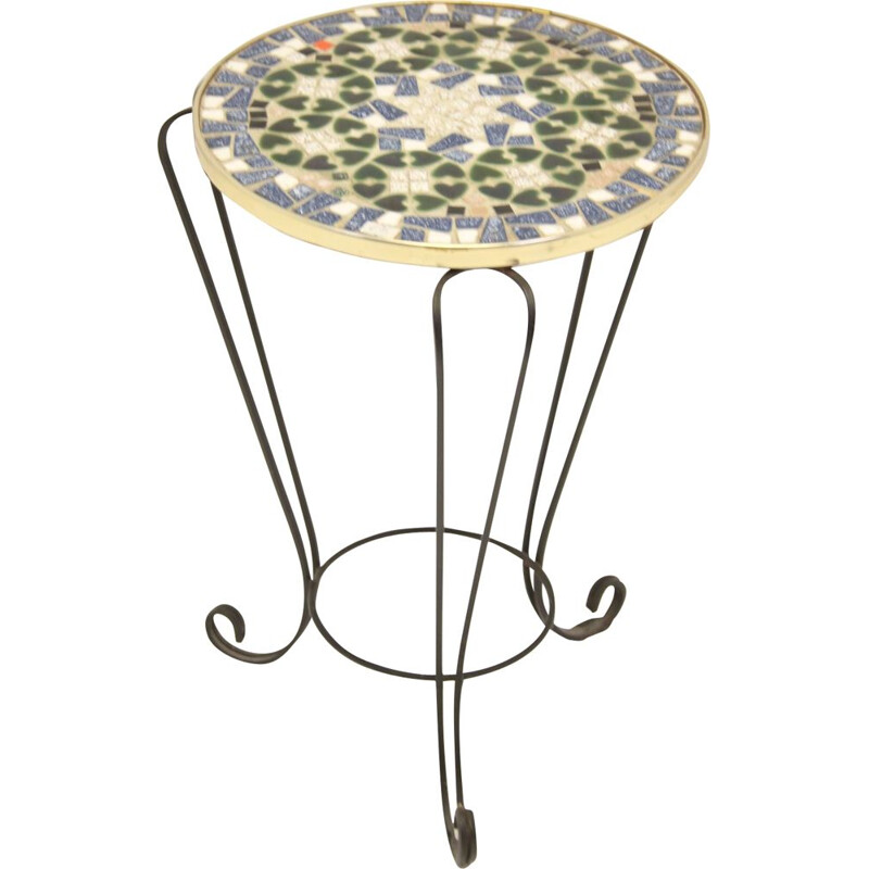 Round Vintage Mosaic Plant Table Black blue 1960
