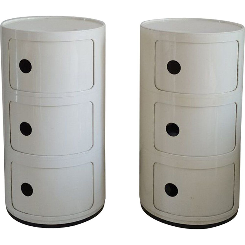 Pair of vintage White Plastic Modular Cabinets by Anna Castelli Ferrieri for Kartell Italian, 1970s