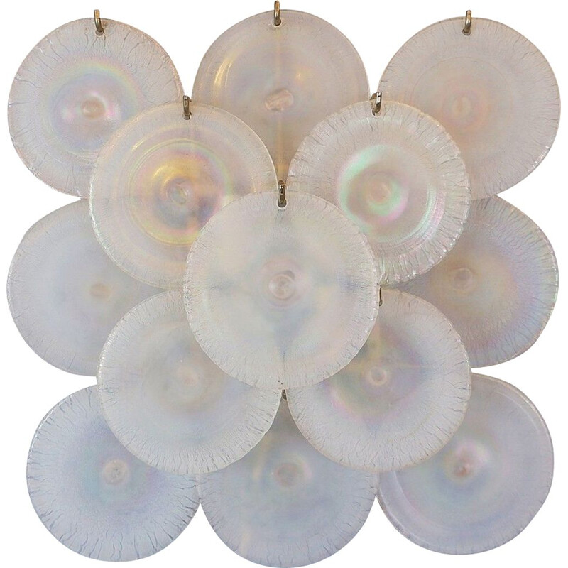 Pair of vintage sconces with Murano glass discs by Carlo Nason 1960