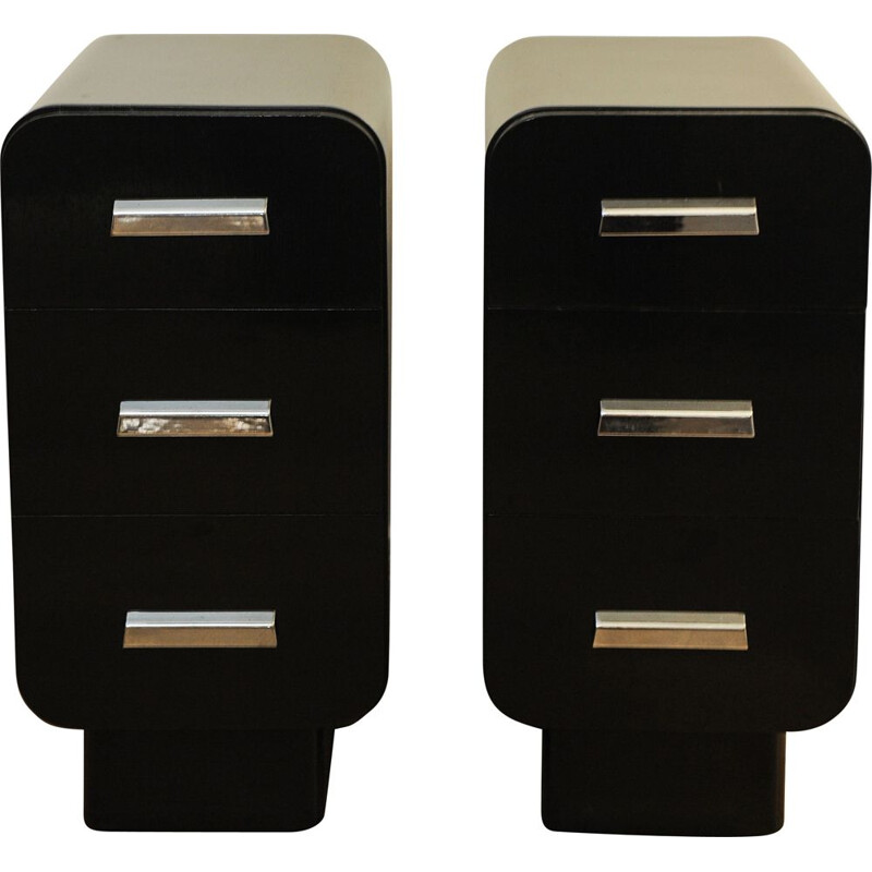 Pair of vintage Industrial Bauhaus Black and Chrome Bedside Cabinets