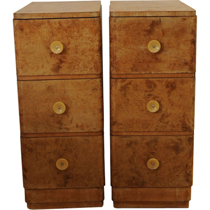Pair of Vintage Burr Walnut Bedside Chest with original Bakelite handles  Art Deco