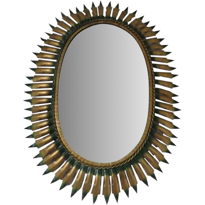 Vintage gold and green metal oval sun mirror 1960