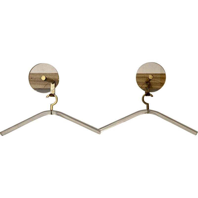 Vintage coat hook and hangers  acrylic brass 1970