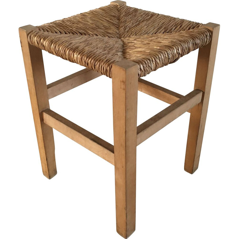 Vintage Stool Geometric Straw and Solid Beech