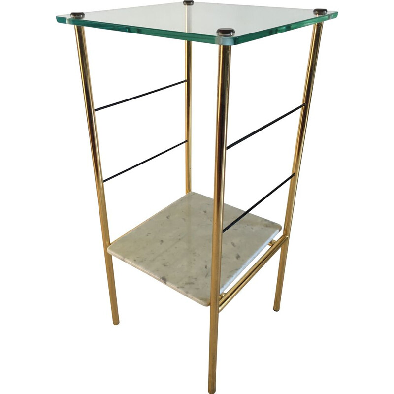 Vintage Bedside Table or Glass and Marble Side Table