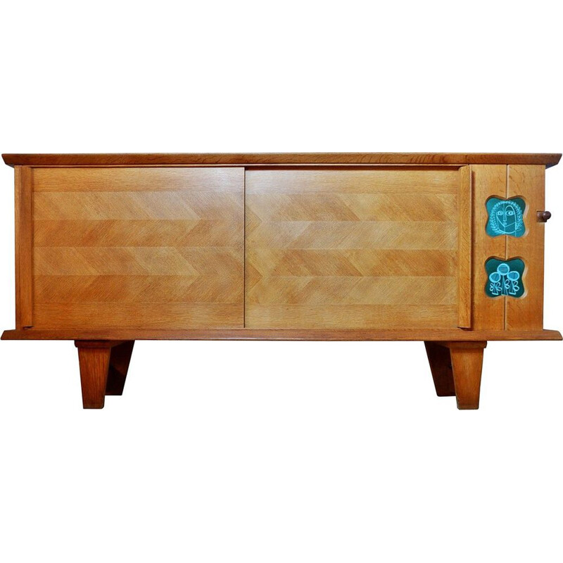 Vintage oak sideboard by Guillerme and Chambron for Your House, 1970