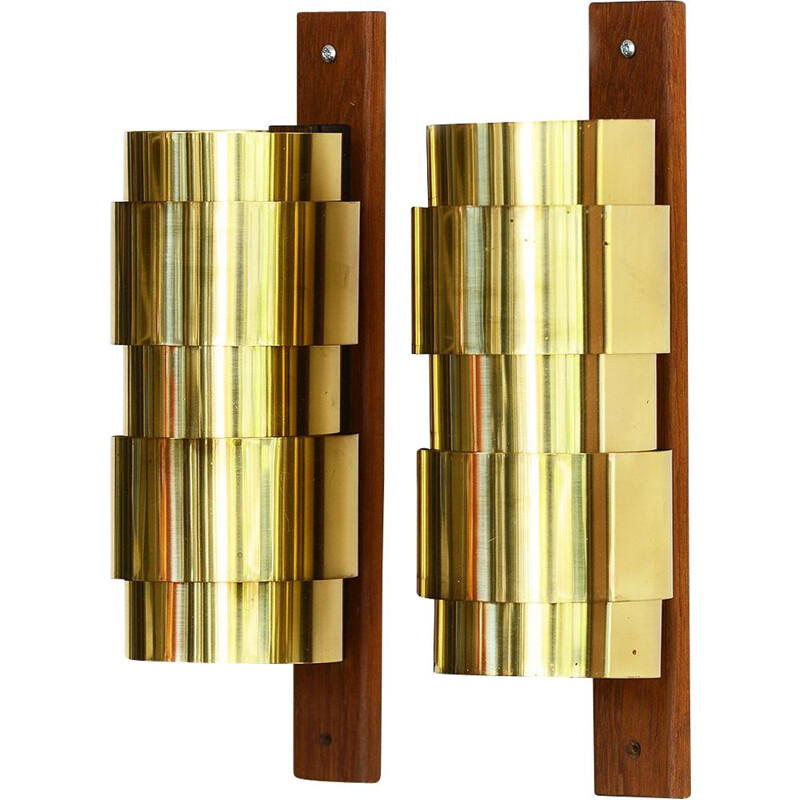 Vintage Brass wall sconces by Hans-Agne Jakobsson for H-A Jakobson Markary AB. Sweden 1960s