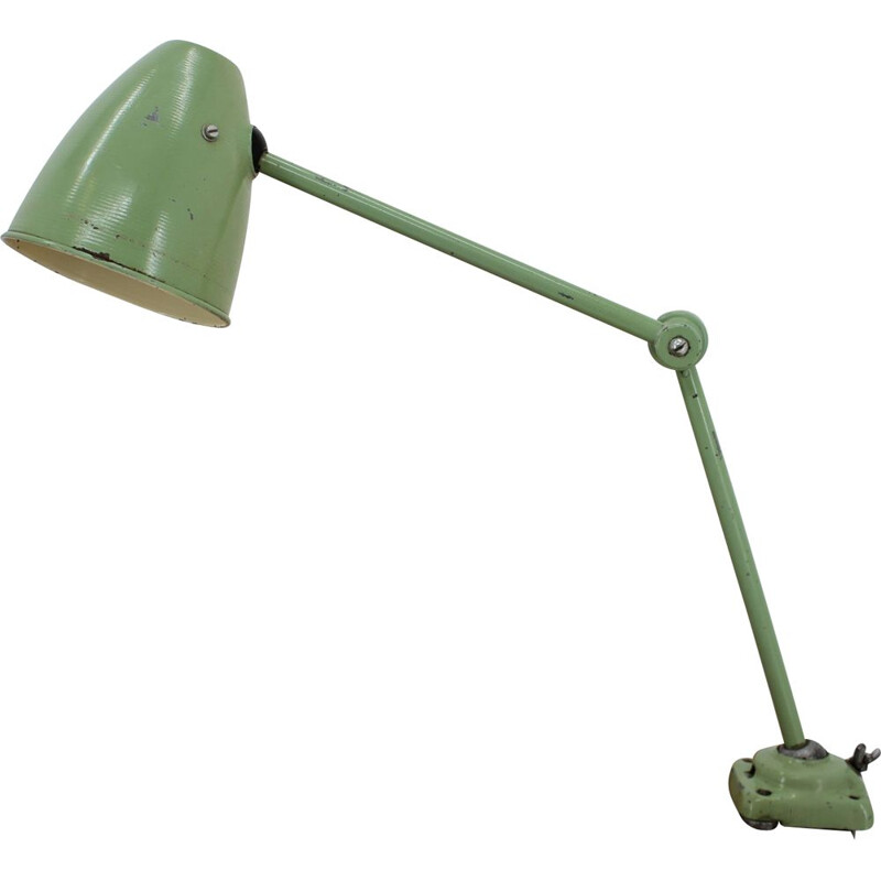 Vintage Industrial adjustable metal table lamp with patina, 1950s