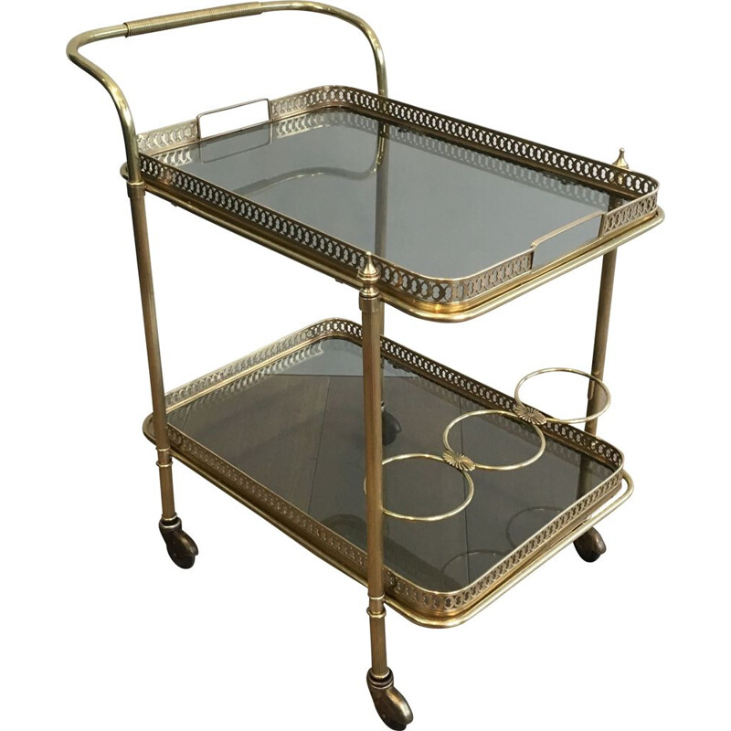Vintage Brass Low Table with Neoclassical Top, 1940s