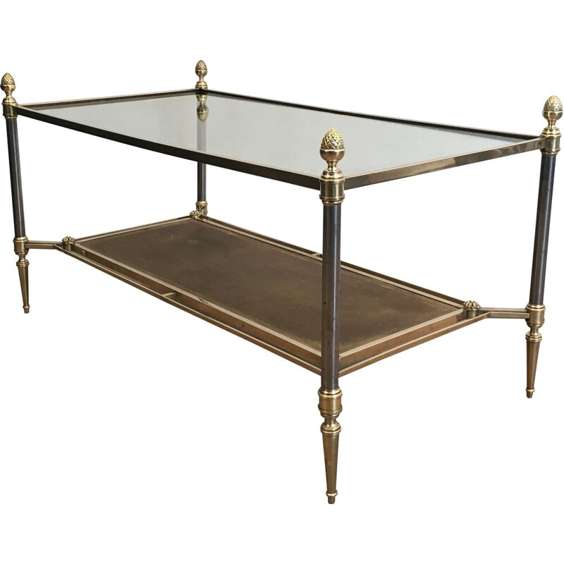 Vintage Brass and Brushed Steel Low Table with Leather and Transparent Glass Neoclassical Trays, 1940