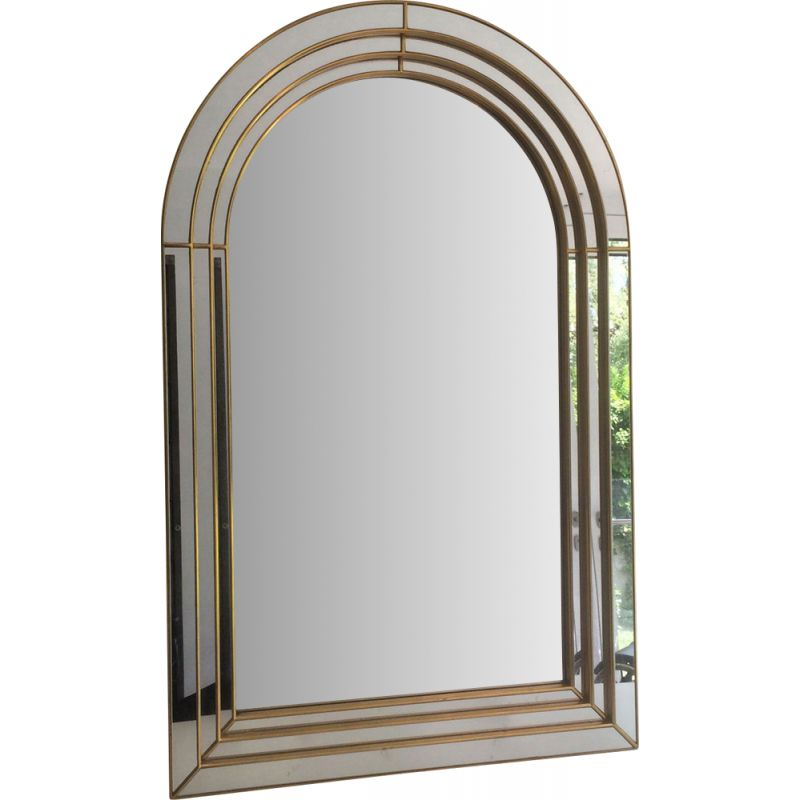 Vintage Large Mirror in Golden Wood, Plexiglass and Mirror, 1970s