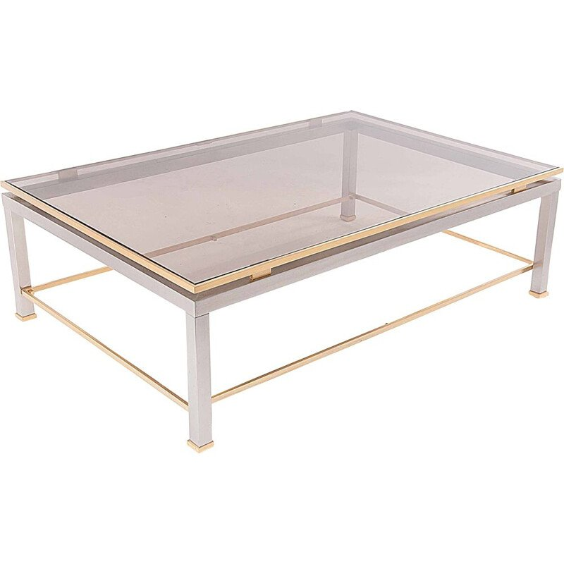 Vintage brass and metal coffee table by Jean Charles, 1970
