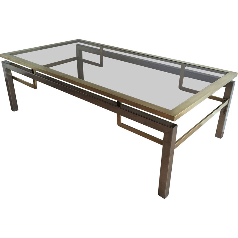 Vintage Brushed Steel and Brass Bass Table, 1970s