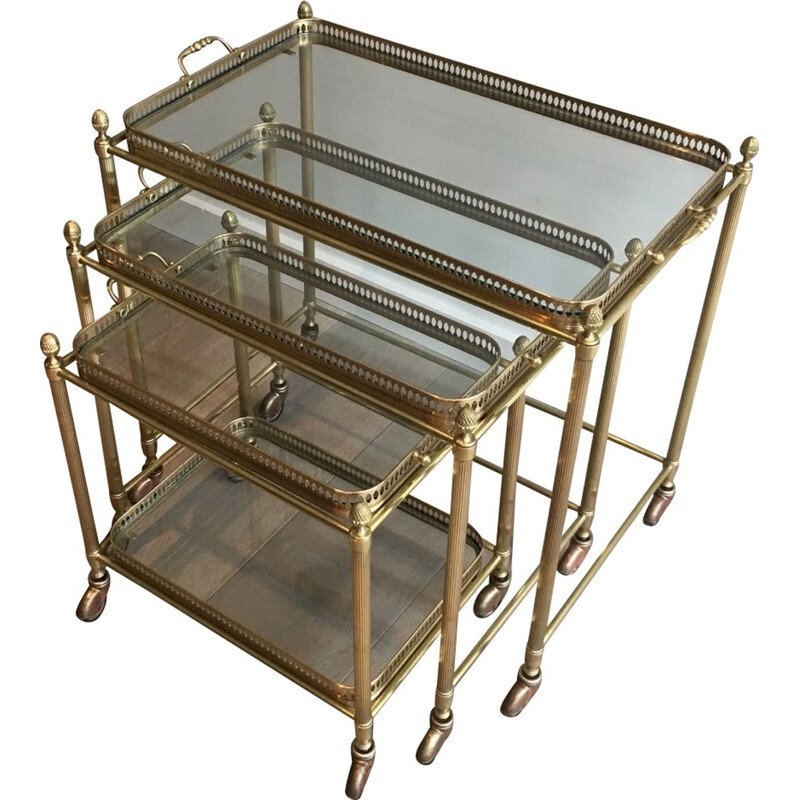 Set of 3 Vintage Brass Nesting Tables with Neoclassical Wheels, 1940