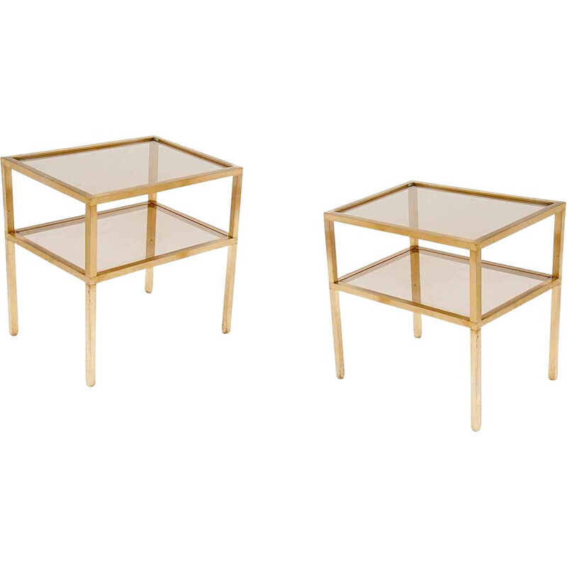 Pair of vintage brass and metal side tables, 1970
