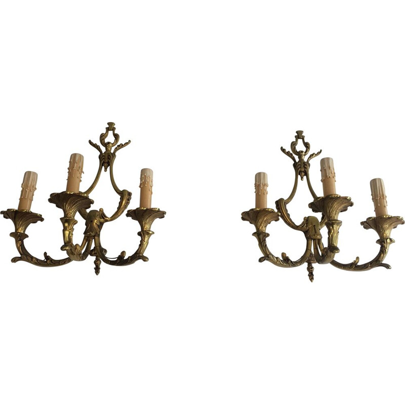 Pair of vintage Louis XV style wall lights, 1960