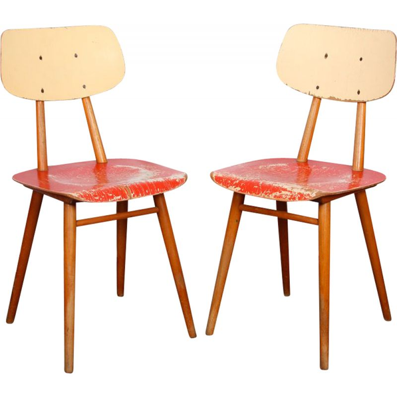 Pair of red vintage chairs for Ton, 1960s