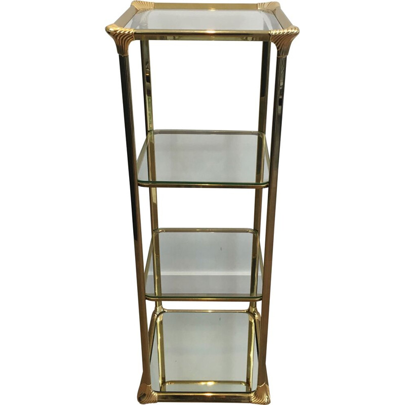 Vintage Golden Hollywood Regency 3 tiered shelf, 1970