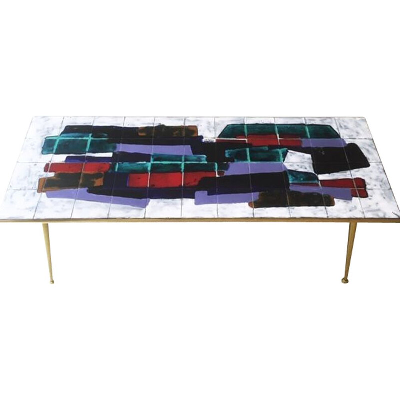 Vintage Coffee Table with ceramic tiles, 1960s