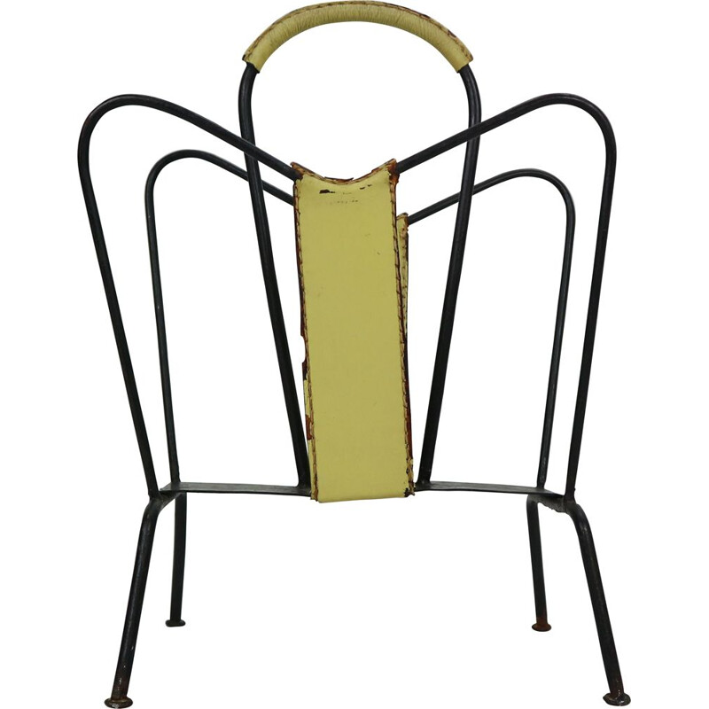 Vintage Yellow Leather and Black Iron Magazine Rack Jacques Adnet  France 1950