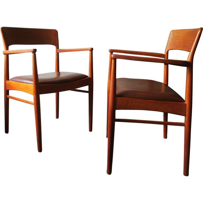 Pair of Teak and Leather Carver Chairs, Danish 1960s