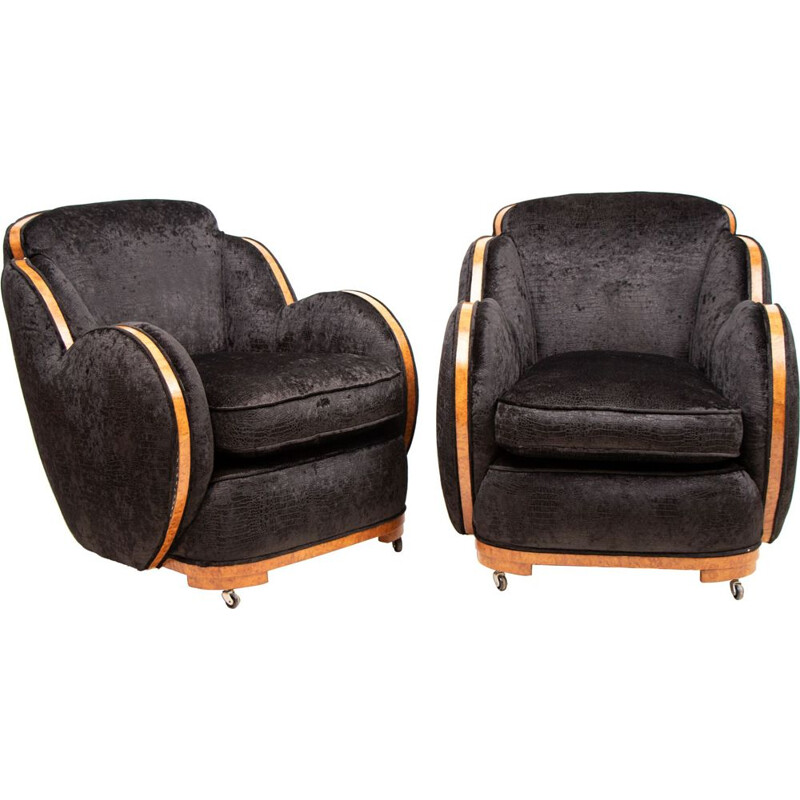 Pair of vintage Cloud back Armchairs by Harry & Lou Epstein Art Deco 1930