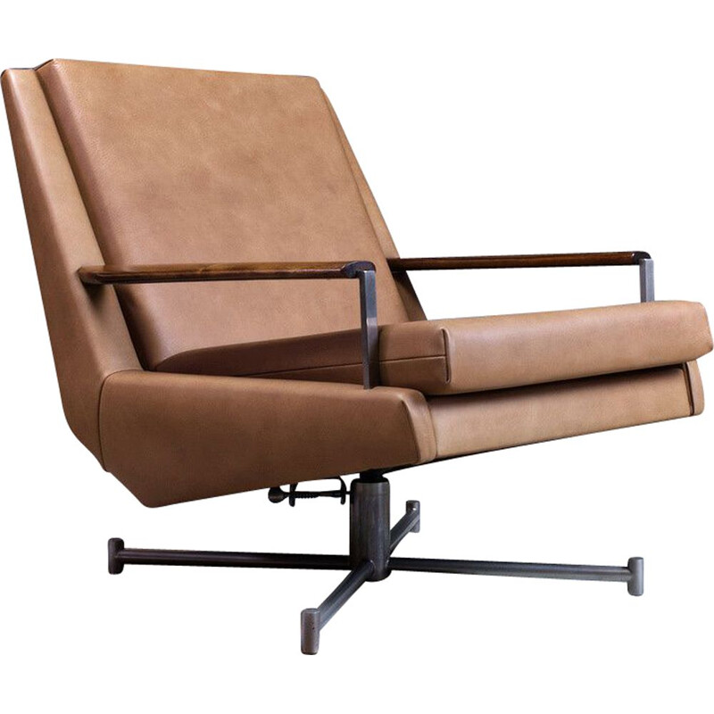 Vintage Leather Swivel Chair by Louis Van Teeffelen in Brown Leather, 1960s