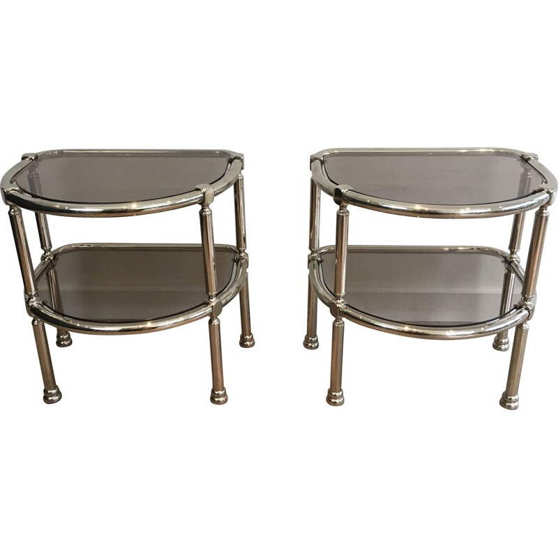 Pair of Vintage Chrome Rounded 1970's Sofa Ends