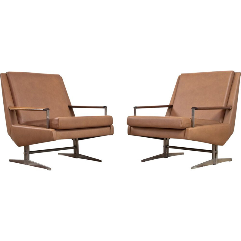 Pair of vintage leather lounge chairs by Louis van Teeffelen, Danish 1960