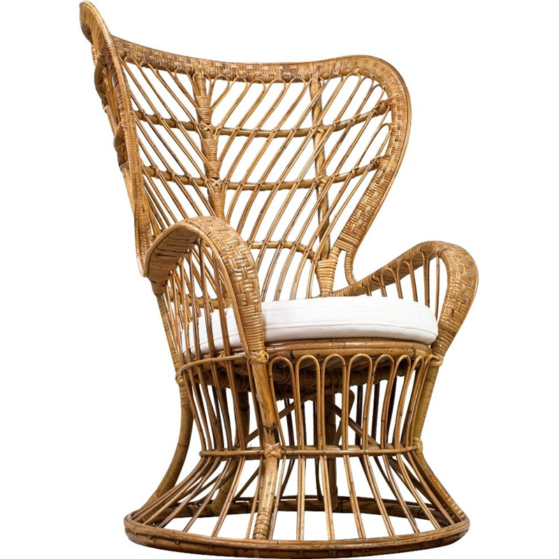 Vintage High Wingback Rattan Armchair with White Felt Cushion by Lio Carminati Italian 1950