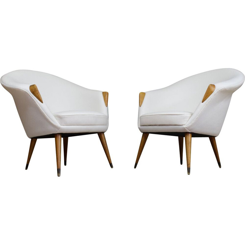 Pair of vintage Lounge Chairs in Elm Reupholstered in Off-White Wool Danish 1950