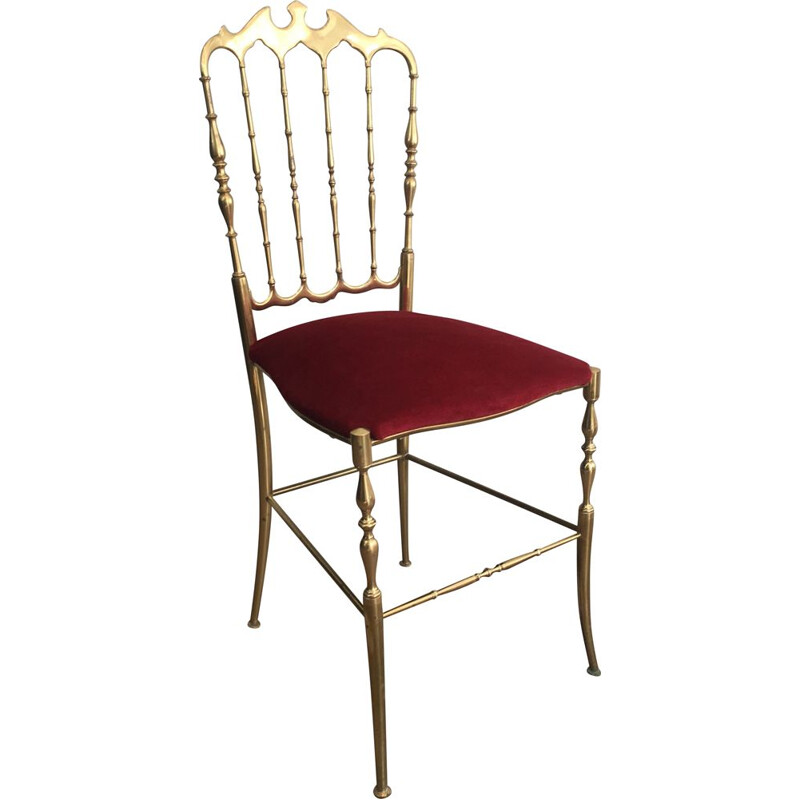 Vintage Chiavari Chair in Brass and Red Fabric 1940
