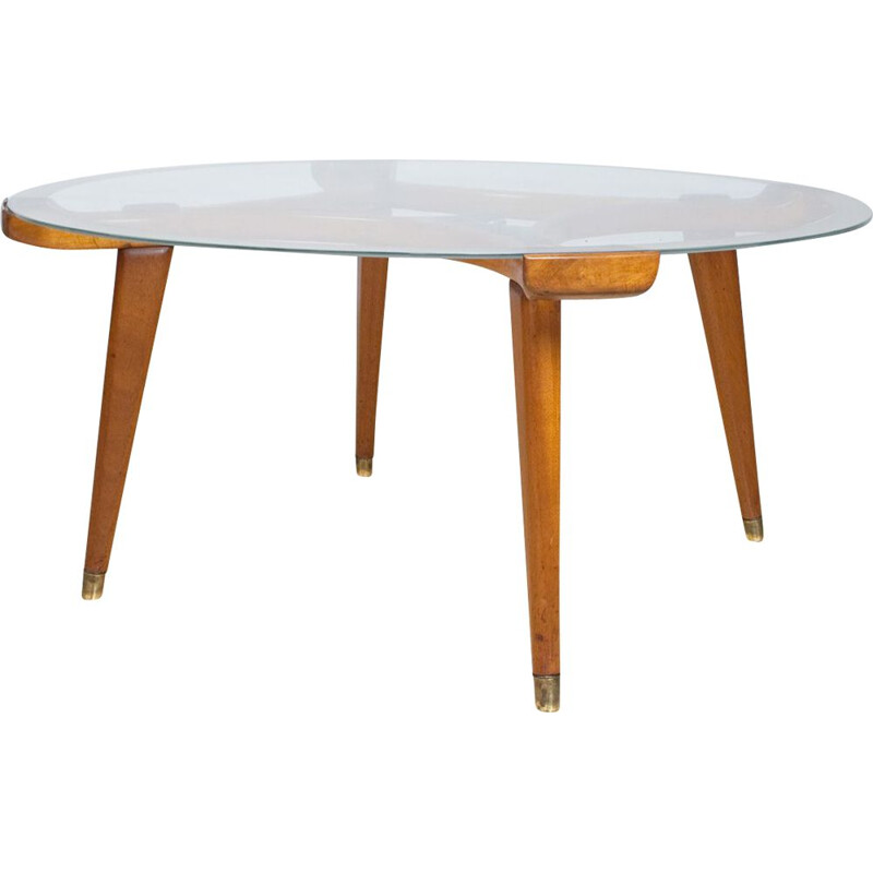 Vintage Round Coffee Table in Glass and Oak by William Watting for Fristho 1955