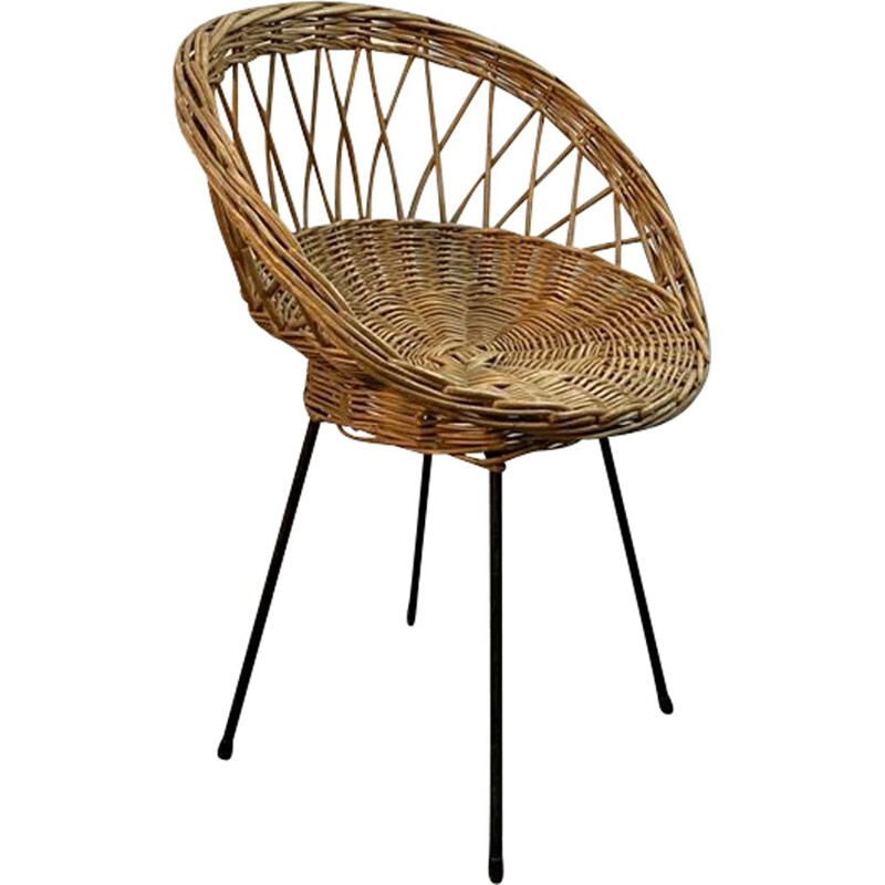 Vintage rattan basket chair with metal legs 1950
