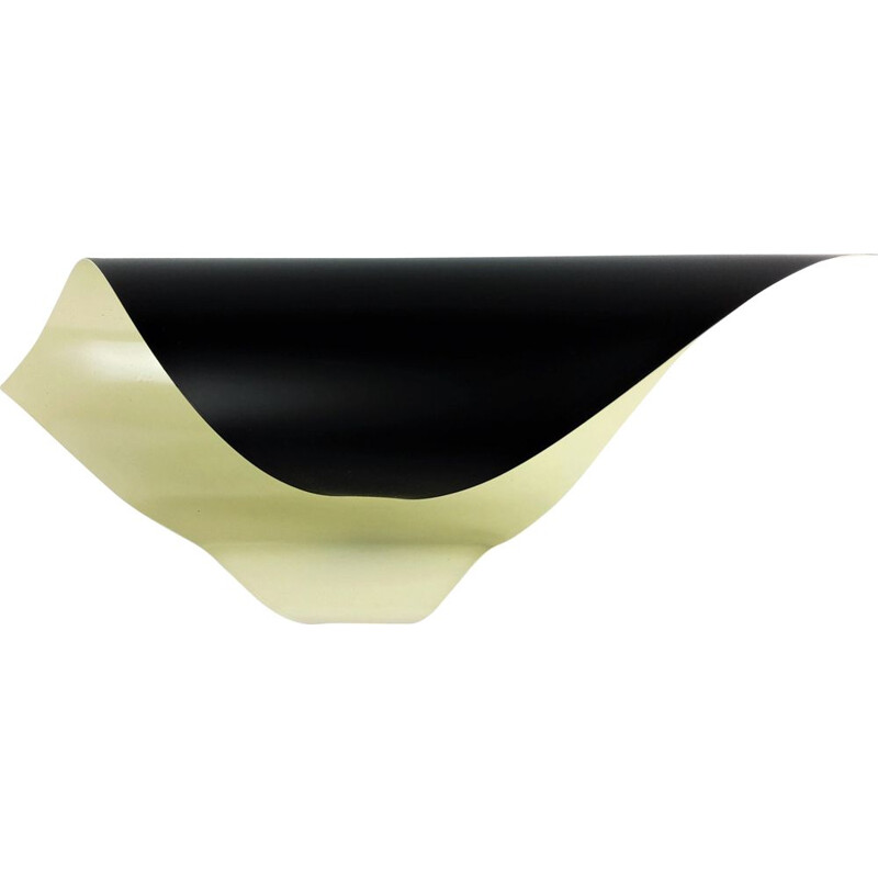 Vintage spiral wall light in rolled and preformed metal, black lacquered 1960