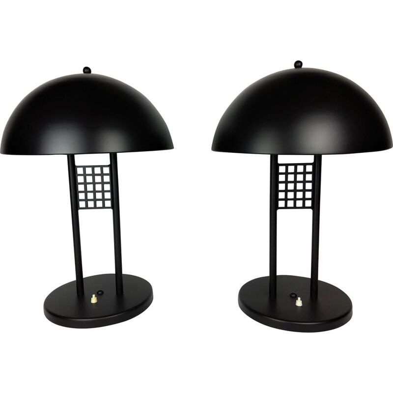Pair of large vintage black lacquered metal table lamps 1980