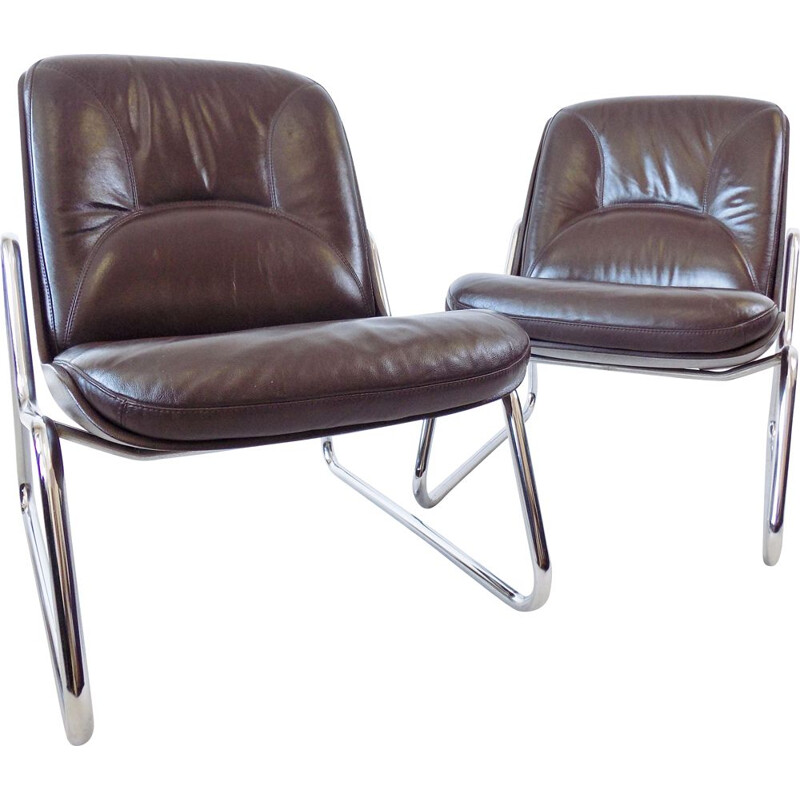 Pair of vintage brown leather lounge chairs by Gerd Lange Drabert
