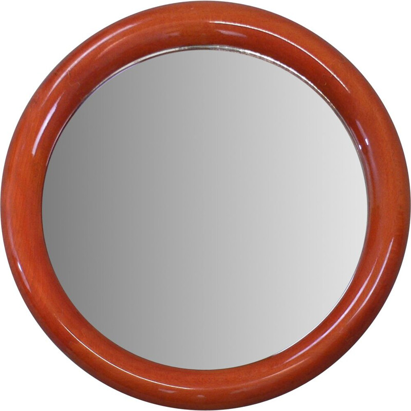 Vintage round mirror in beechwood varnished 1970