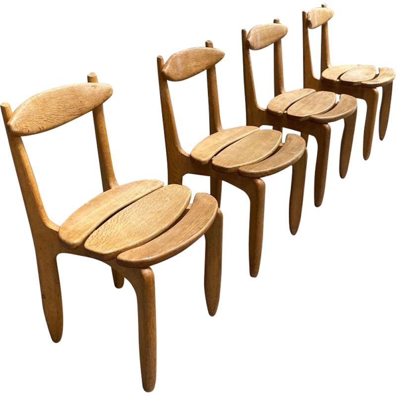 Set of 4 vintage oak chairs Guillerme &Chambron Chairs Thierry