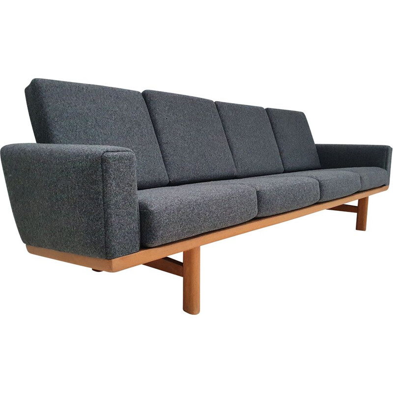 Vintage sofa, model GE236, H.J.Wegner, oak wood, wool fabric, 1970s