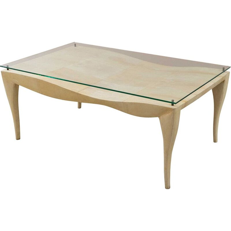 Vintage coffee table covered with parchment, R&Y Augousti, 1980