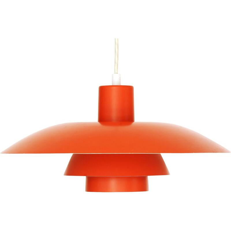 Vintage Orange pendant light PH 43 by Poul Henningsen for Louis Poulsen. Denmark 1970s