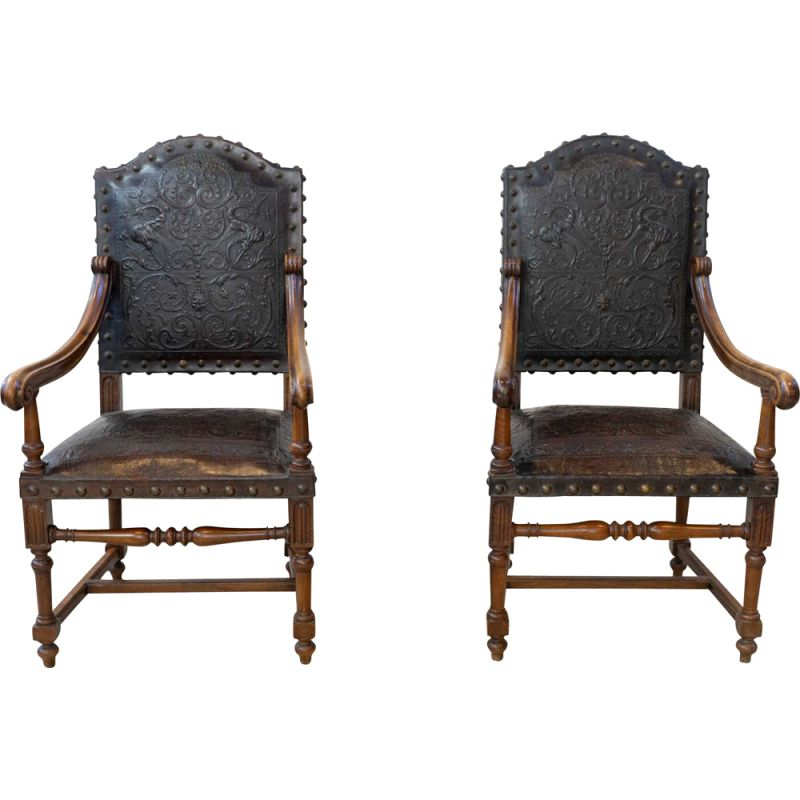 Pair of vintage armchairs in walnut and embossed leather, 19th century